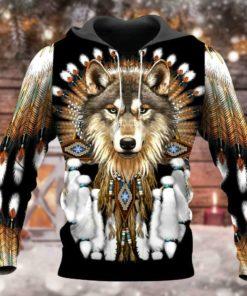 3d Print Native Wolf Hoodie So Beautiful