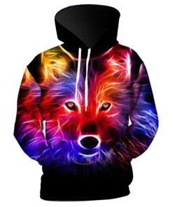 Coloful Wolf 3d Hoodie