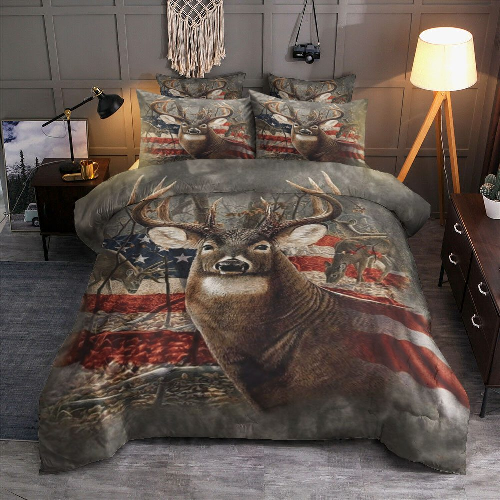 Deer Hunting American Flag Bedding Set - KarikShop