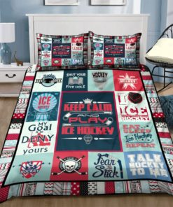 Ice Hockey Keep Calm And Play Ice Hockey Bedding Set For Fans