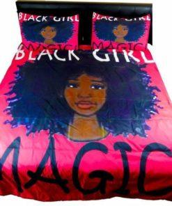 Black Girl African Pink Background Duvet Cover Bedding Set