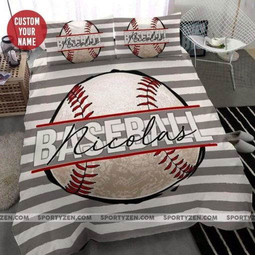 Baseball Ball Personalized Custom Duvet Cover Bedding Set With Your Name
