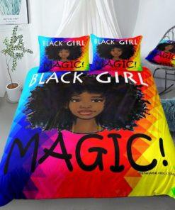 Black Girl Magic Rainbow African Bedding Set