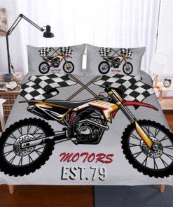Dirt Bike Racing 3d Duvet Cover Bedding Set