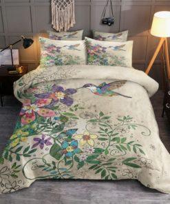 Hummingbird Flowers Painting Duvet Cover Bedding Set
