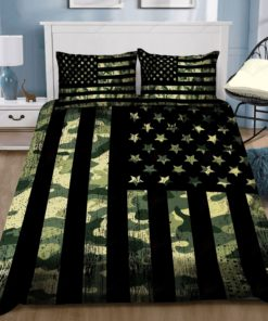 Green Camouflage American Flag Bedding Sets (Duvet Cover & Pillow Cases)