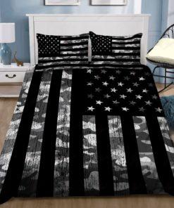 Grey Camouflage American Flag Duvet Cover Bedding Sets