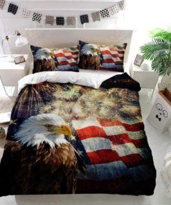Bald Eagle American Flag Fireworks Bedding Set (Duvet Cover & Pillow Cases)