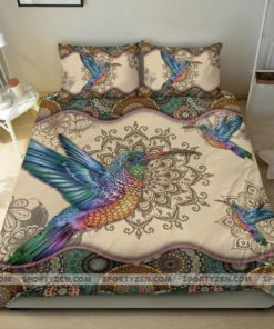 Colorful Hummingbird Mandala Cotton Bed Sheets Spread Comforter Duvet Cover Bedding Sets Perfect Gifts For Hummingbird Lover Gifts For Birthday Christmas Thanksgiving