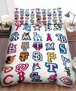 Mlb All Teams Logo Bed Sheets Spread Duvet Cover Bedding Set Ver 1